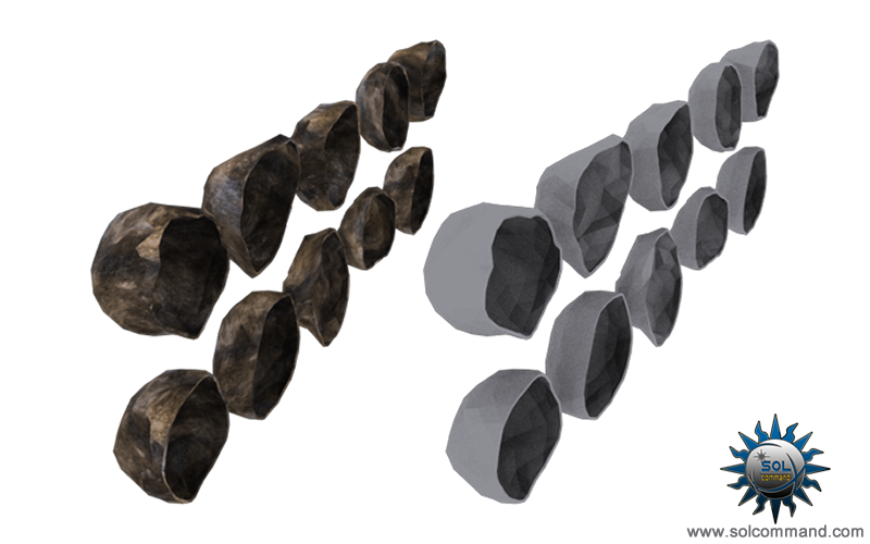 Hollow half asteroid set 3d model free download solcommand halfs texture variation low poly game ready carved scroll game top down style