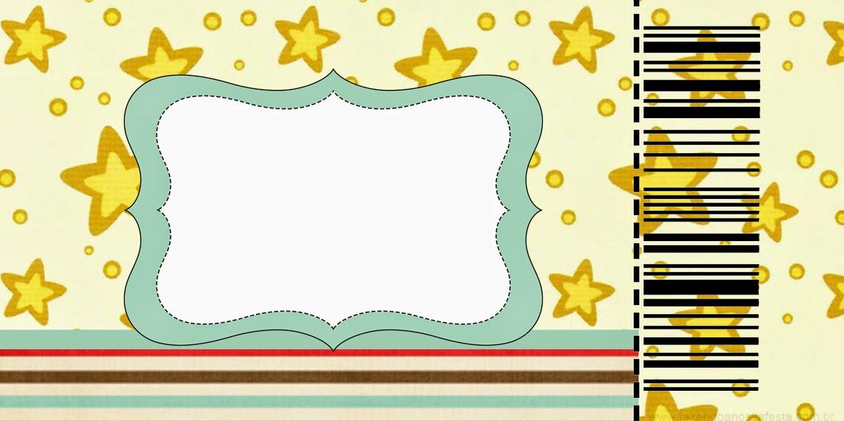 Tarjeta con forma de Ticket de Estrellas Doradas y Rayas de Colores.