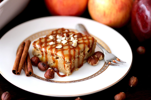 Healthy Apple Pie Blondies with a Brown Sugar Frosting and Caramel Drizzle (low sugar, gluten free, vegan) - Desserts with Benefits