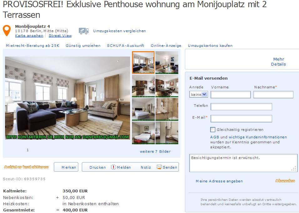 07779588379  Gegen Wohnungsbetrug against rental scammers