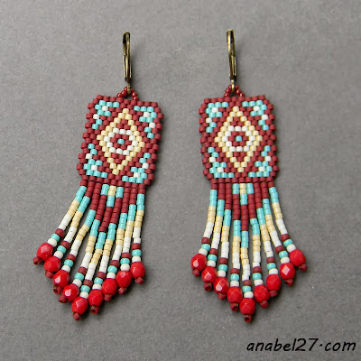 seed bead earrings beadwork beading beadweaving beads