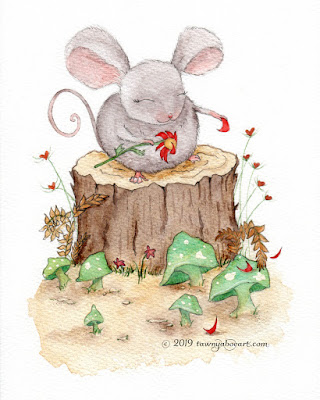 Whimsical Mouse Watercolor Card Design IllustrationWhimsical Mouse Watercolor Card Design Illustration by Tawnya Boe
