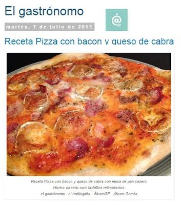 Recetas TOP10 de El Gastrónomo en mayo 2016 - Receta de pizza con bacon y queso de cabra