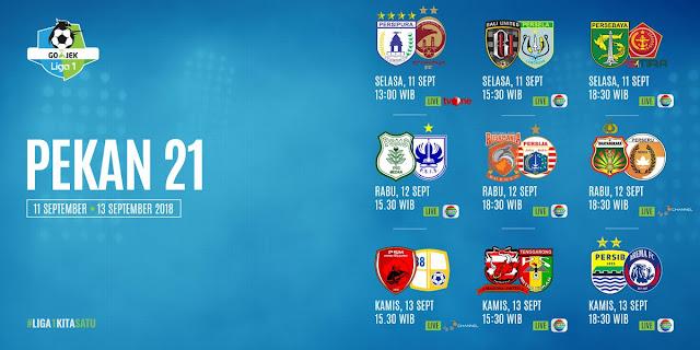 Jadwal Liga 1 2018 Pekan 21