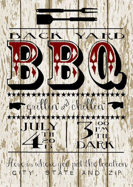 My 3 Monsters: Back Yard BBQ Party Invitation{Free