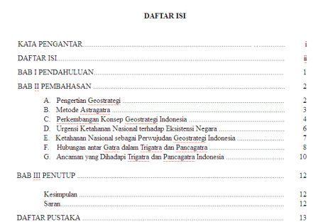 Contoh Daftar Isi Makalah