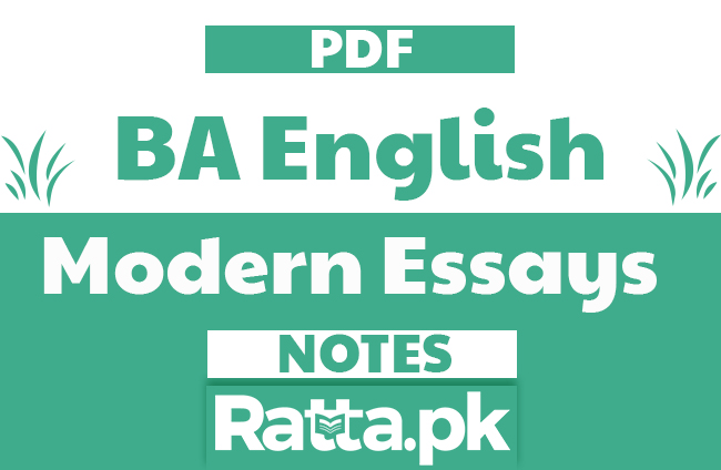 BA English Modern English Essays Notes pdf free Download