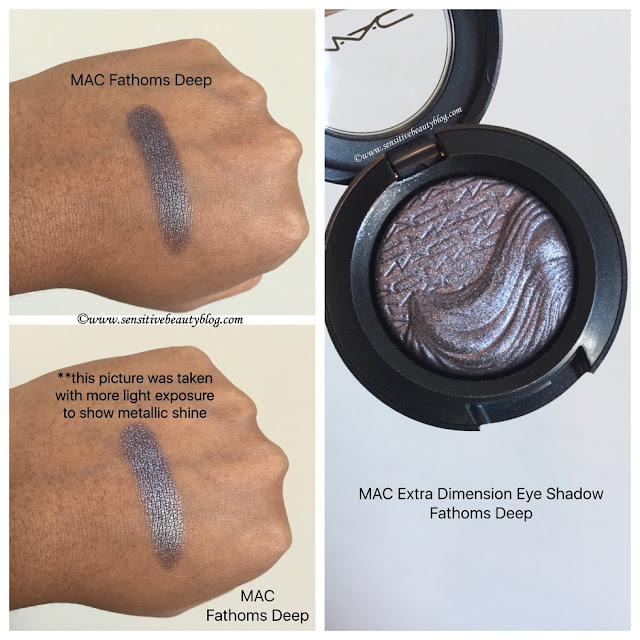 MAC Extra Dimension Eyeshadow Fathoms Deep swatched on dark skin
