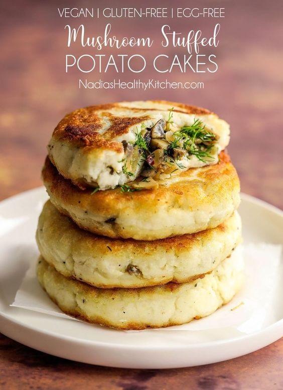 Mushroom Stuffed Potato Cakes