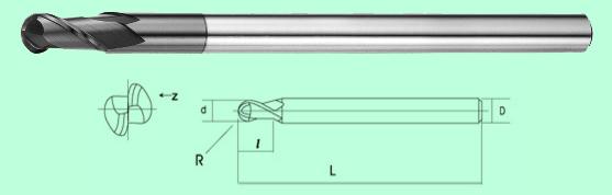 Dao phay cầu thân dài Carbide