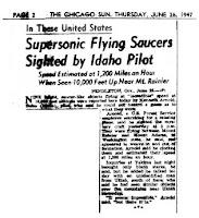Titular del Chicago Sun del 26 de junio de 1947