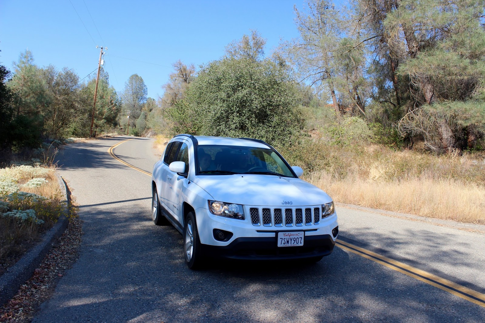 SUV rental car on road trip through California USA