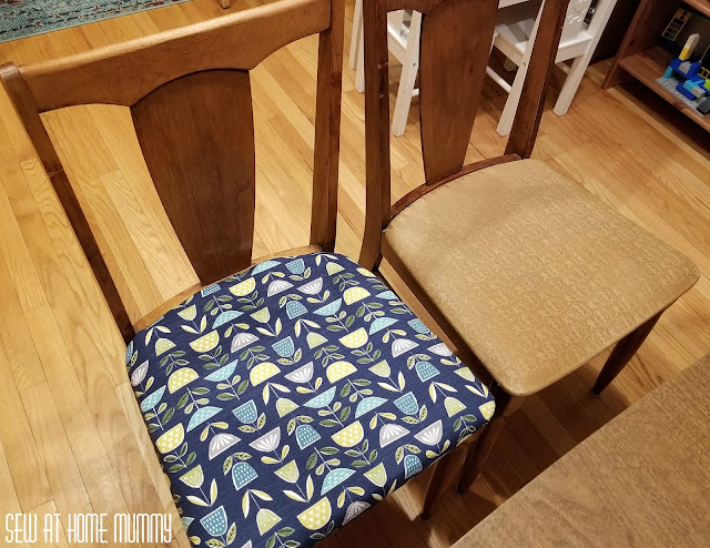 Easy dining chair-recovering tutorial - how to get perfect corners every time! Great tips on vintage mid century wood cleaning and restoration.
