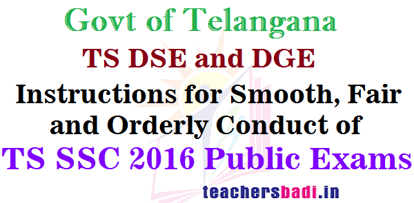 Instructions,TS SSC 2016,TS DGE DSE
