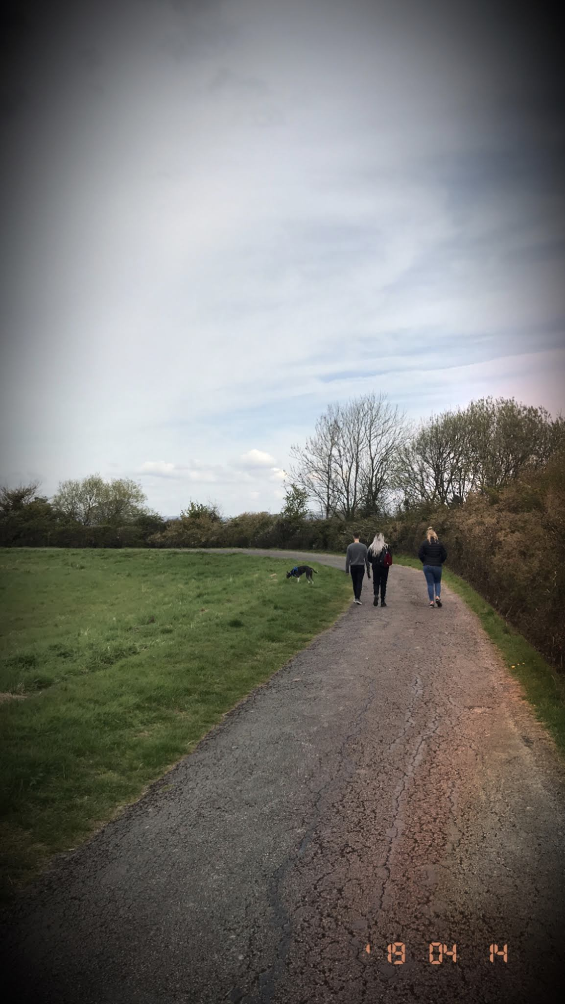 Backview of three friends on walk through fields Bristol - April roundup blogpost