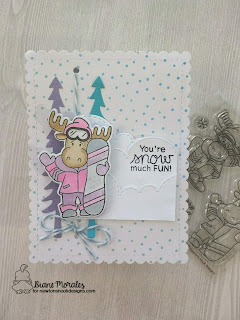 Snow Much Fun!  A card by Diane Morales| Moose Mountain Stamp Set by Newton Nook Designs