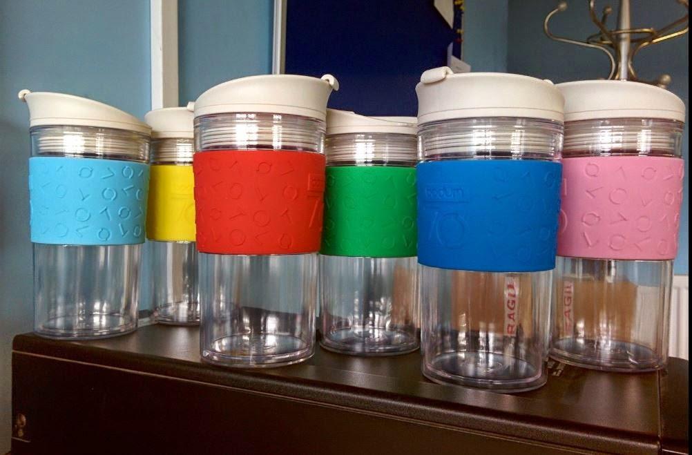 Bodum Clear Travel Mugs 350ml With