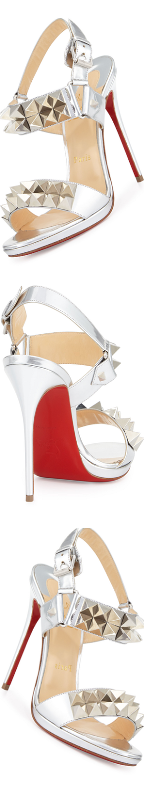 Christian Louboutin Miziggoo Spiked Two-Band Red Sole Sandal, Silver