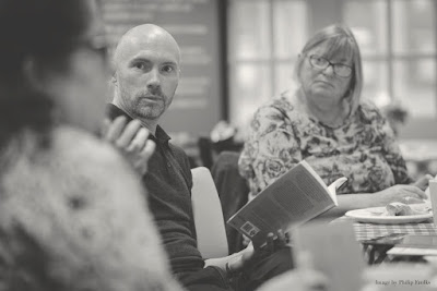 Philip Sheridan facilitates a poetry workshop, Leeds, 2017