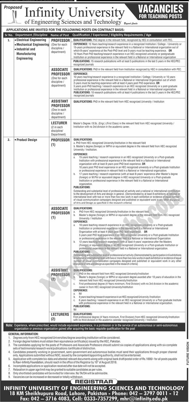 Infinity University of Engineering Sciences and Technology Today Jobs 2018
