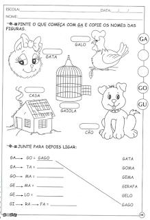 Atividades de alfabetização letra g