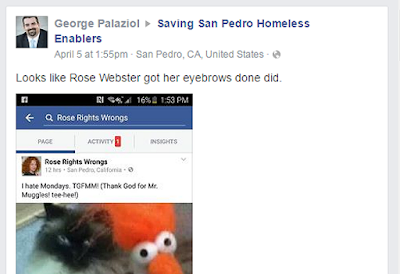 George Palaziol posts an insult about Rose Webster's eyebrows in Saving San Pedro Homeless Enablers Facebook Group