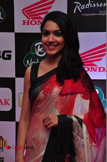 Actress Ritu Varma Pictures in Red Saree at Mirchi Music Awards South 2015 0036