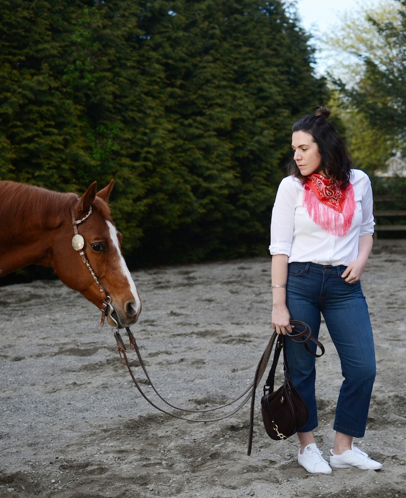 NYDJ FitToBe cropped jeans and blouse Vancouver fashion blogger