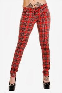 Tartan Skinny Jeans Ladies