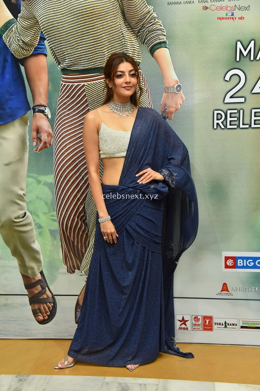 Kajal Agarwal Looks Stunning in a Blue Lehenga Sleeveless Shoulder less Choli