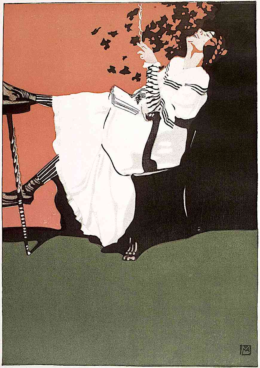 a Mila Von Luttich illustration of a laughing woman with a book and cigarette