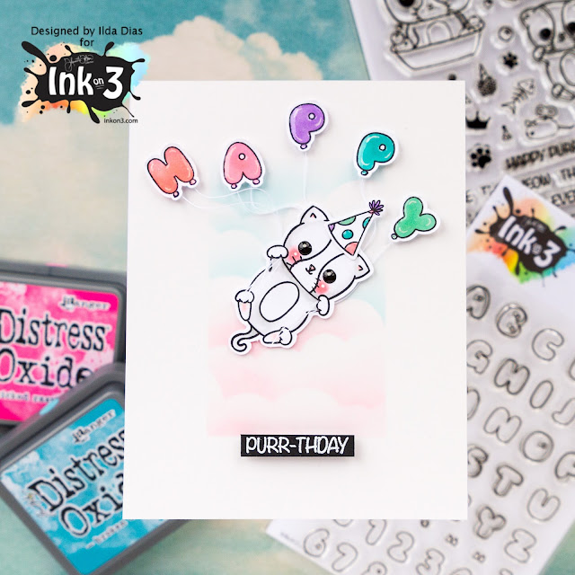Happy Purr-thday Interactive Card - Suspended Card Elements by ilovedoingallthingscrafty