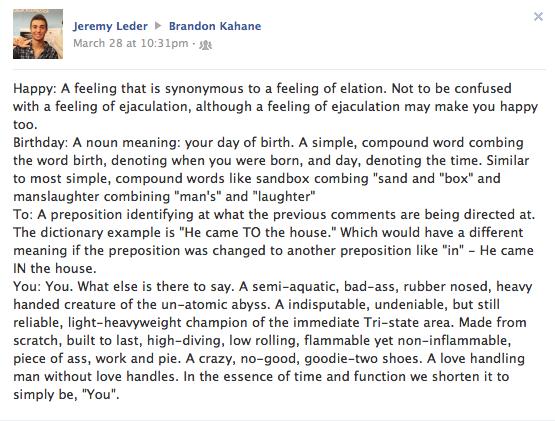Funny Facebook Birthday Posts: May 2013