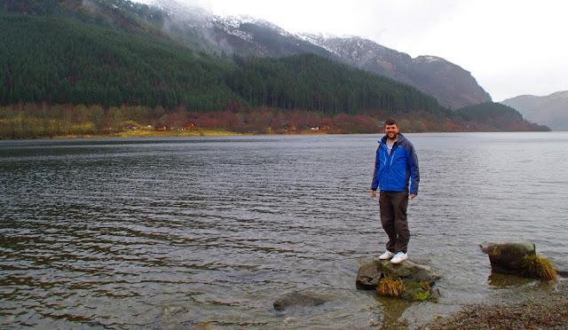 Male exploring Scottish Highlands