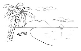 Contoh Sketsa Gambar Pemandangan Pantai Belajar