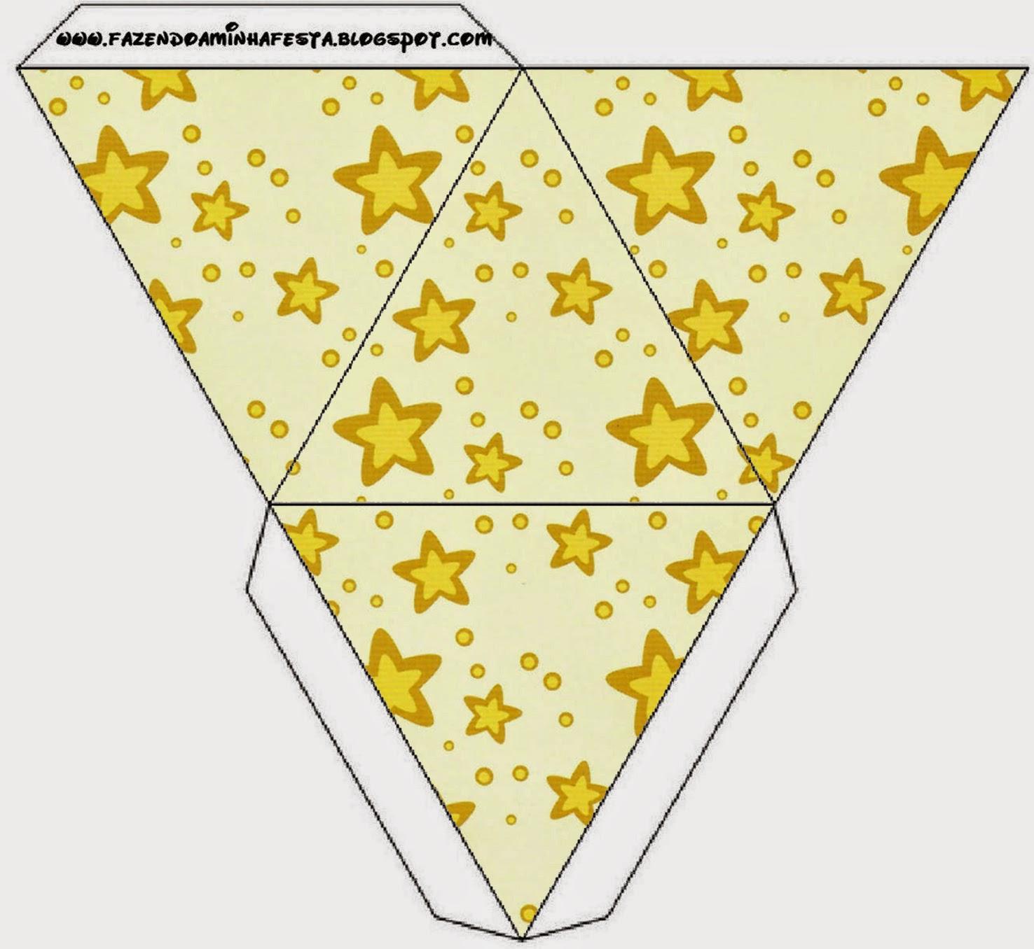 Caja con forma de pirámide de Estrellas Doradas y Rayas de Colores.