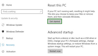 Reset Windows 10 melalui windows settings