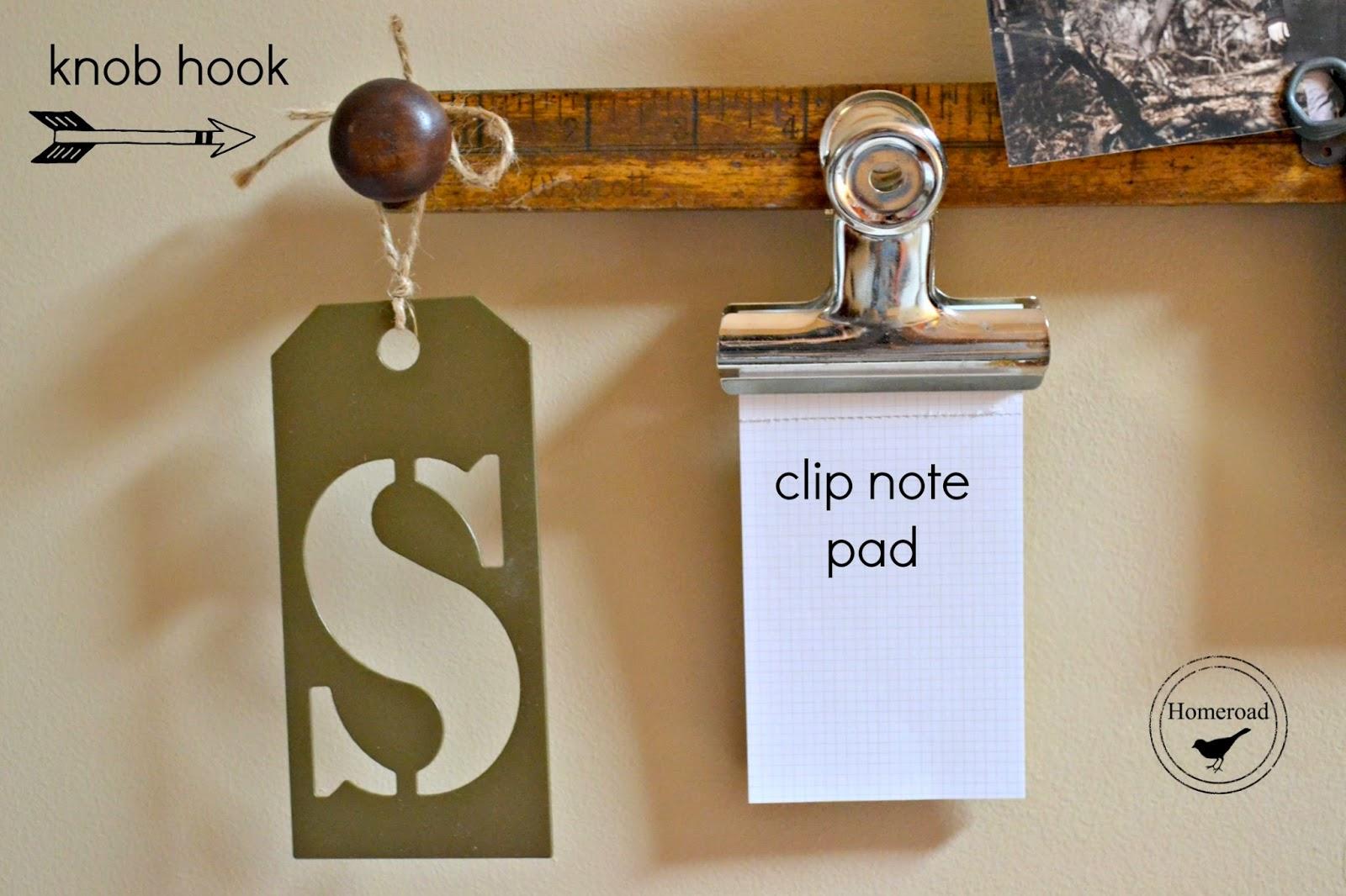 DIY Vintage yardstick message center.