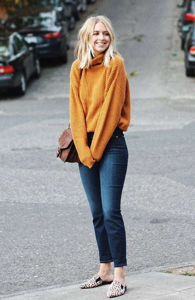 ootd   knit sweater + brown bag + jeans + leopard loafers