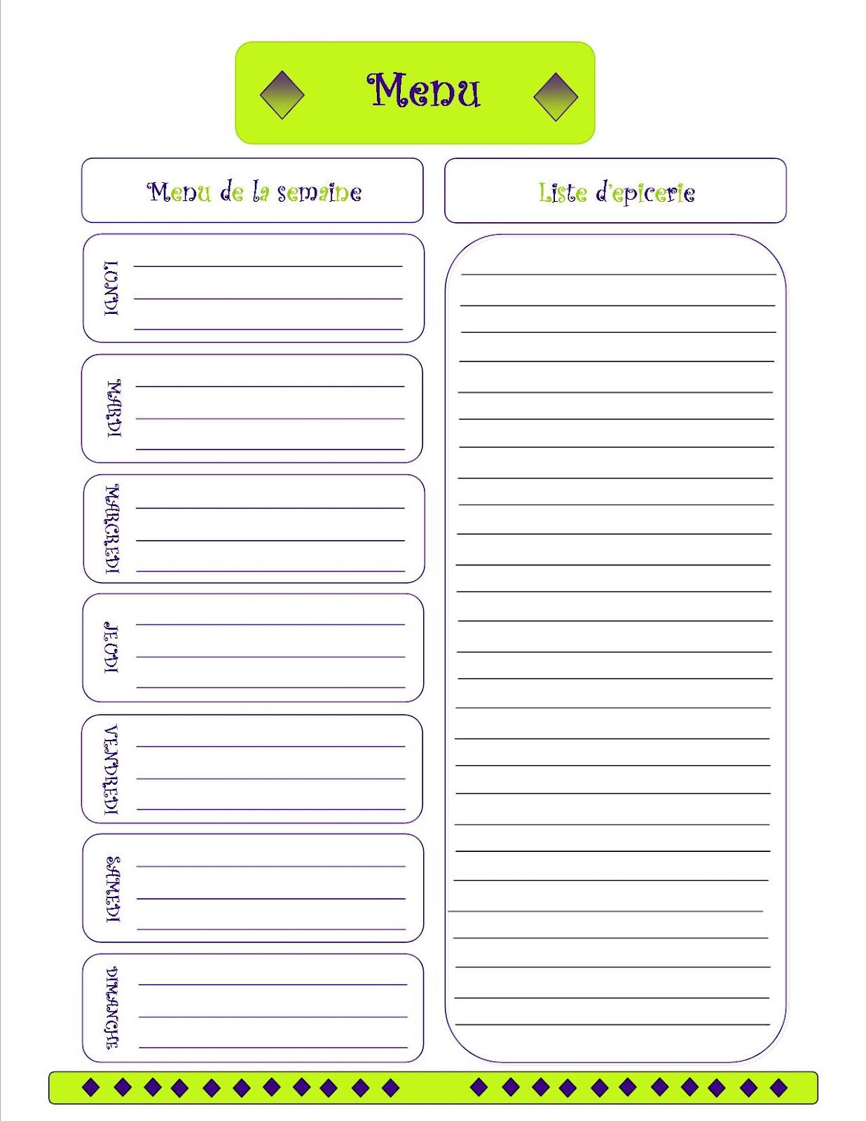 Menu Planning | New Calendar Template Site