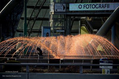 Katowice, fontanna na rondzie, Święto Niepodległości, 11 listopada 2014