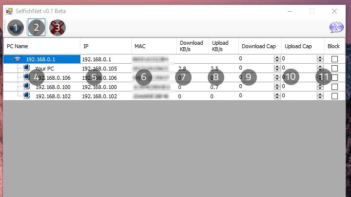 برنامج Selfishnet لقطع النت عن المتصلين بالشبكة وتحديد