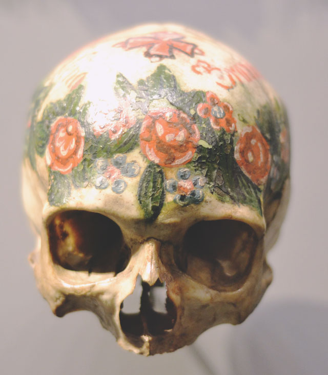 Painted decorative human skull