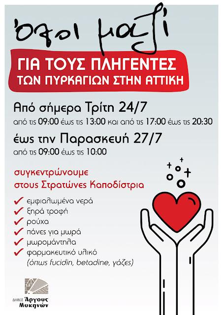 Δήμος Άργους Μυκηνών: Οι πληγέντες στην Ανατολική Αττική μας έχουν ανάγκη - Ας βοηθήσουμε όλοι