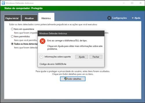 Windows defender erro 0x80029c4a