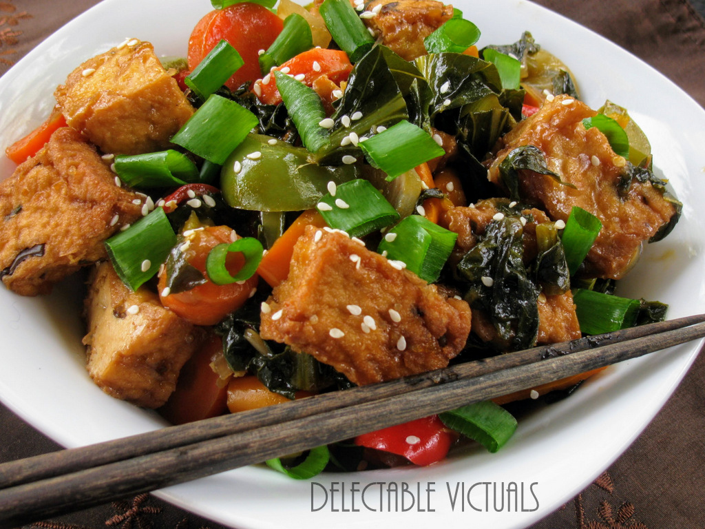 Collard Greens Stir Fry with Fried Tofu