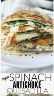 Vegan Spinach Artichoke Quesadillas