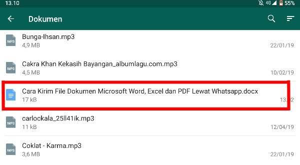 Pilih Dokumen Yang Akan Dikirim Melalui WhatsApp