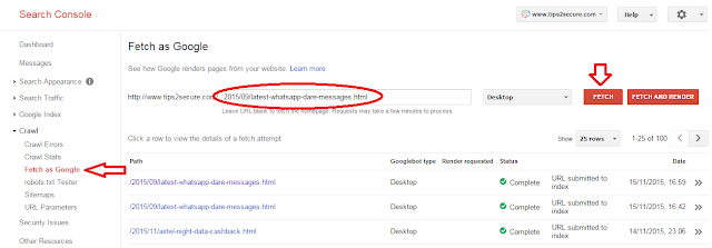 Fetch as google in SEO tips