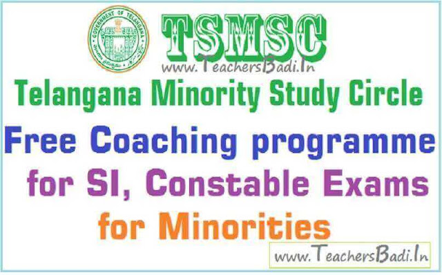 Free coaching,SI Constable Exams,TS Minority Study Circle
